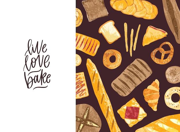 Horizontal banner with tasty fresh breads, homemade baked products and sweet pastry of different types