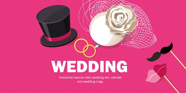 Horizontal banner with wedding veil, cylinder and wedding rings.