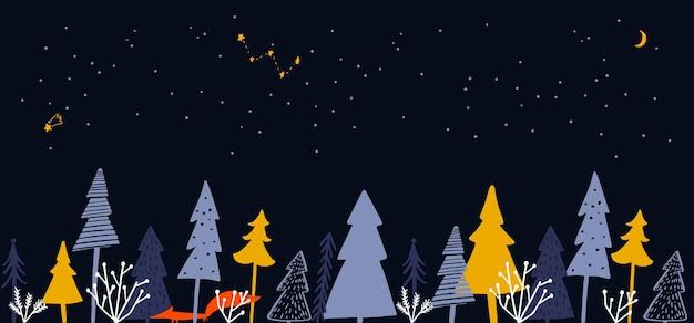 겨울 숲 일러스트와 함께 가로 배너 밤에 크리스마스 나무 가문비나무 오렌지 여우