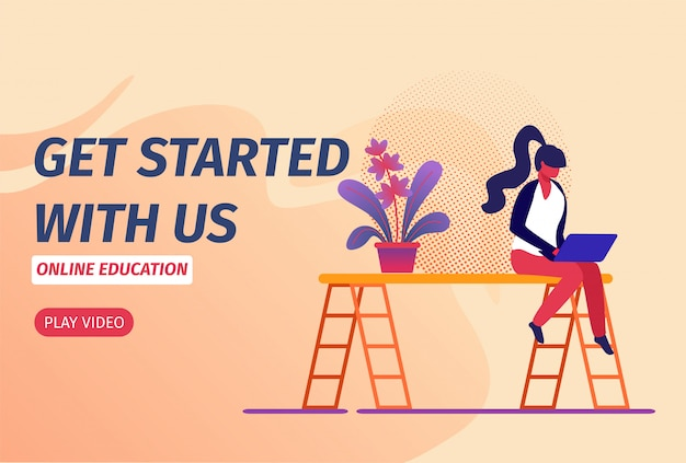 Horizontal banner with young girl sitting with laptop on ladder watching webinar in internet.