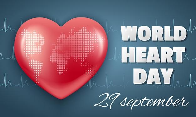 Горизонтальный баннер всемирный день сердца 29 сентября. красное сердце и кардиограмма.