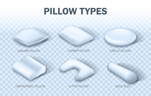 Horizontal banner written pillow types infographic