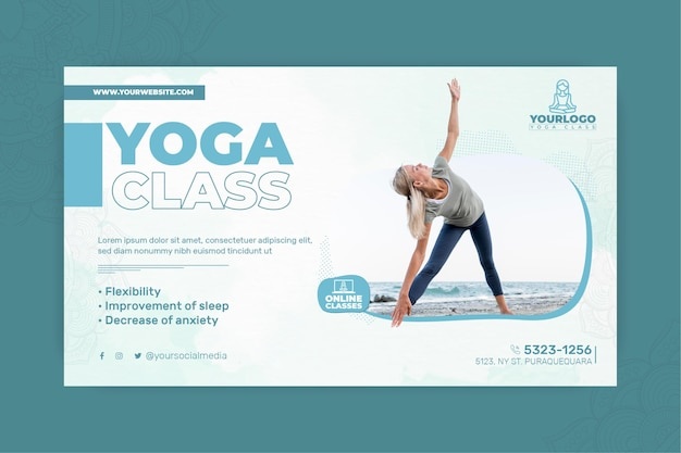 Horizontal banner for yoga practice with woman