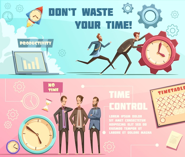 Horizontal banners in retro cartoon style with time management including effective planning and productivity