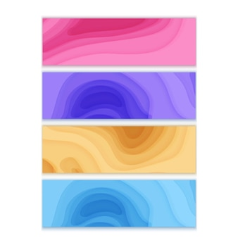 水平方向のバナーは、3d抽象的な背景ピンク紫とオレンジ色の紙のカット形状を設定します