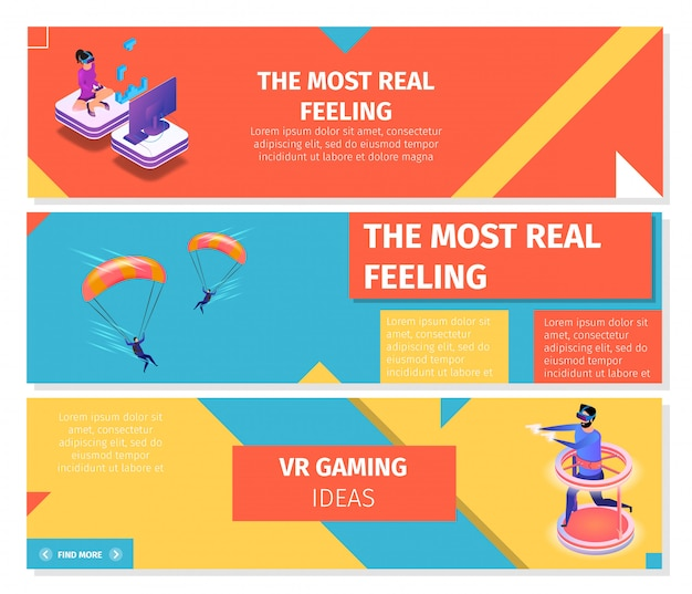 Horizontal banners set about gaming and skydiving
