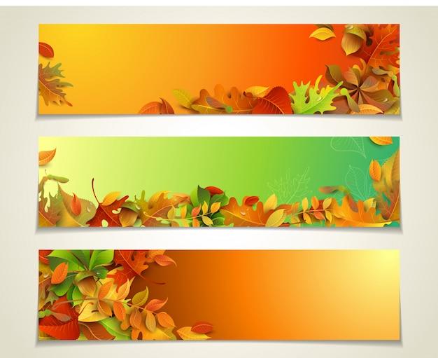 Horizontal banners set. autumn maple, oak, birch, elm, rowan, chestnut, aspen leaves, and acorns.