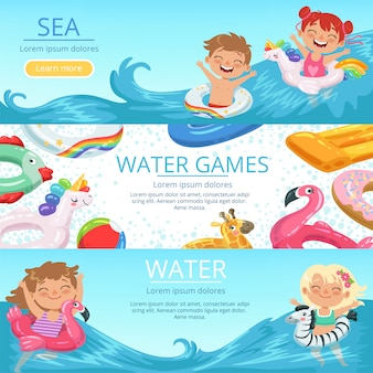 Horizontal banners set happy childrens playing on the beach and water park