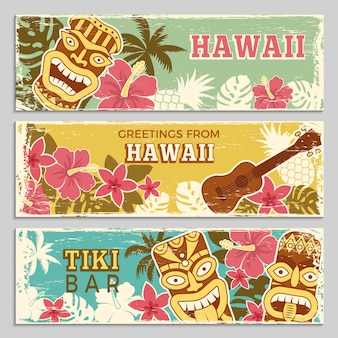 Horizontal banners set of hawaiian tribal gods and other different symbols