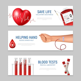 Horizontal banners set with blood donor day