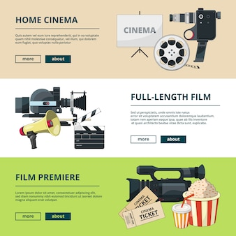Horizontal banners set with cinema compositions