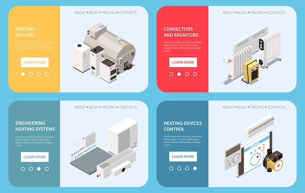 Horizontal banners set with isometric boiler radiator conand control of heating system devices isolated illustration