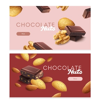 Horizontal banners set with pieces of nuts and chocolate isolated illustration