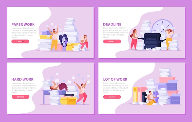 Horizontal banners set with tired people working with papers before dead line flat isolated