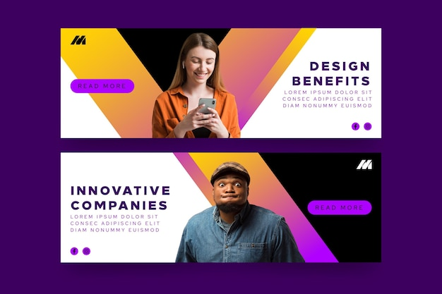 Horizontal banners template for innovative companies