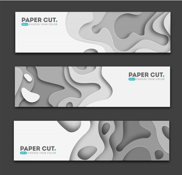 Horizontal banners with 3d abstract background