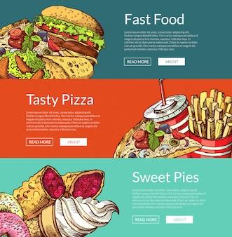 Горизонтальные баннеры с гамбургерами быстрого приготовления, мороженым и пиццей Premium векторы