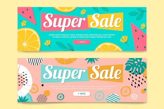 Horizontal banners with fruits