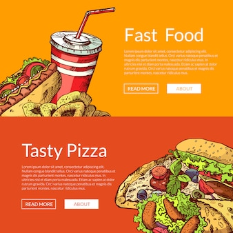 Horizontal banners with hand drawn colored fast food elements
