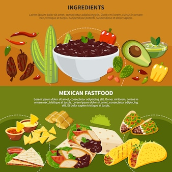 Horizontal banners with mexican dishes ingredients and fastfood on terracotta and green background isolated