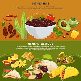 Bandiere orizzontali con ingredienti di piatti messicani e fastfood su terracotta e sfondo verde isolato