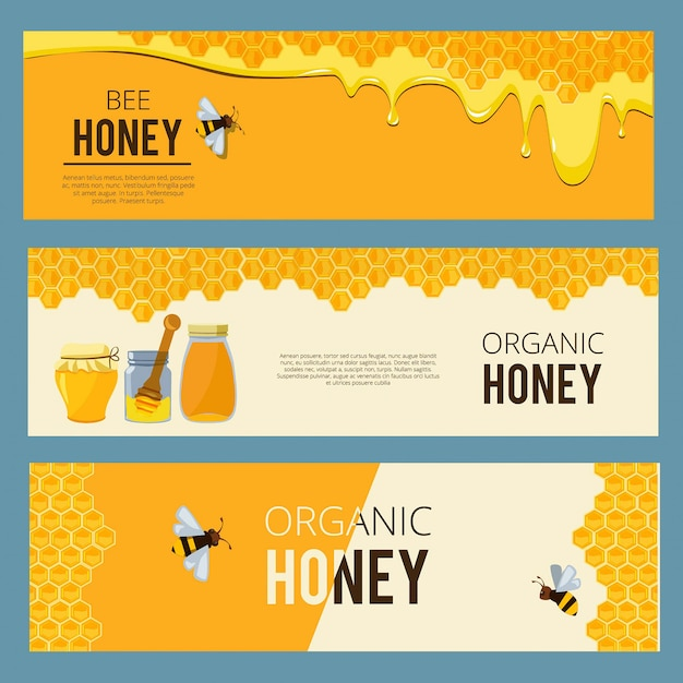 Horizontal banners with pictures set of apiary.