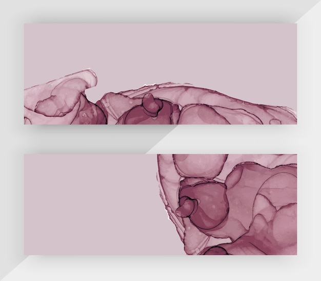 Горизонтальные баннеры с текстурой фиолетовых чернил алкоголя