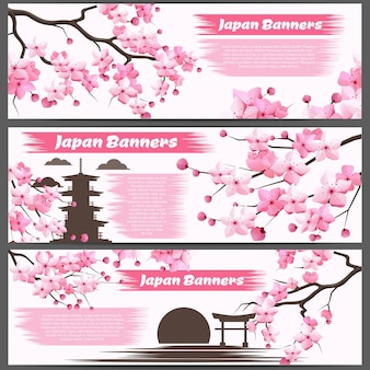 Horizontal banners with sakura branches and blooming flowers