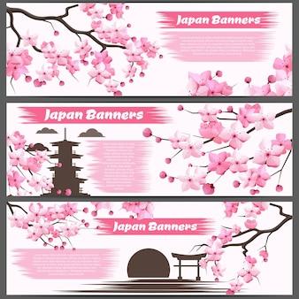 Bandiere orizzontali con rami di sakura e fiori che sbocciano