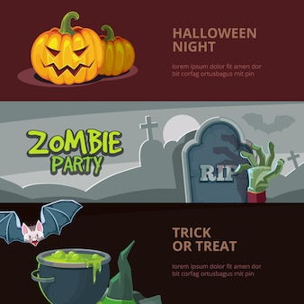 Horizontal banners with vector illustrations of halloween