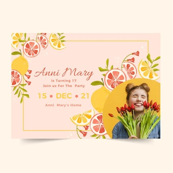 Horizontal birthday invitation template with citrus