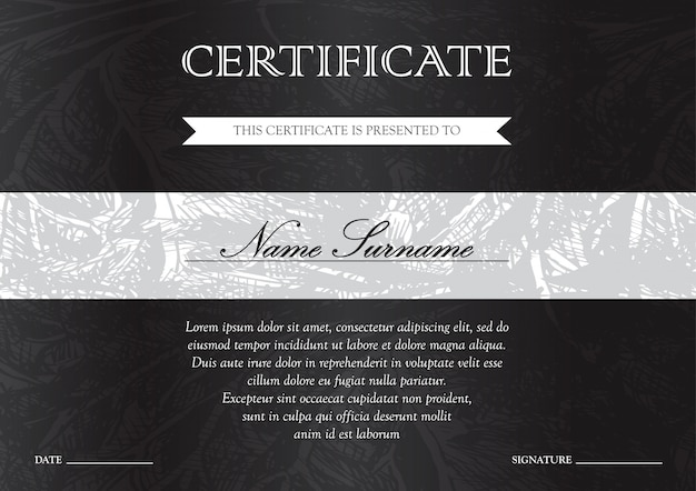Horizontal black dark certificate and diploma template for winner for achievement