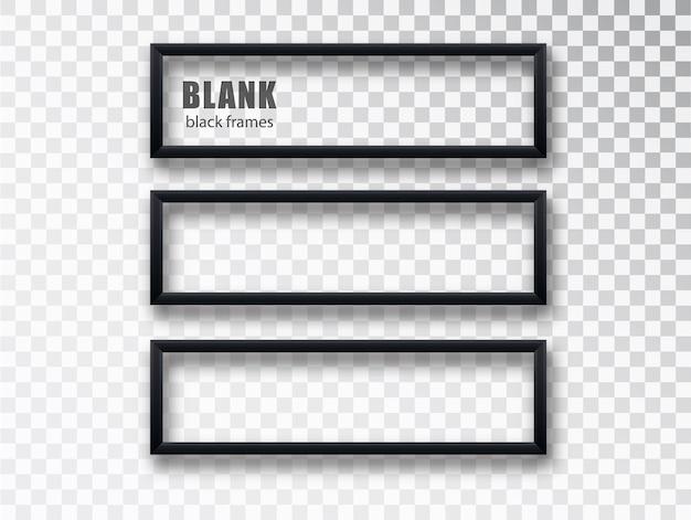 투명 한 배경에 고립 된 가로 검은 색 프레임 모형 템플릿. 빈 프레임.