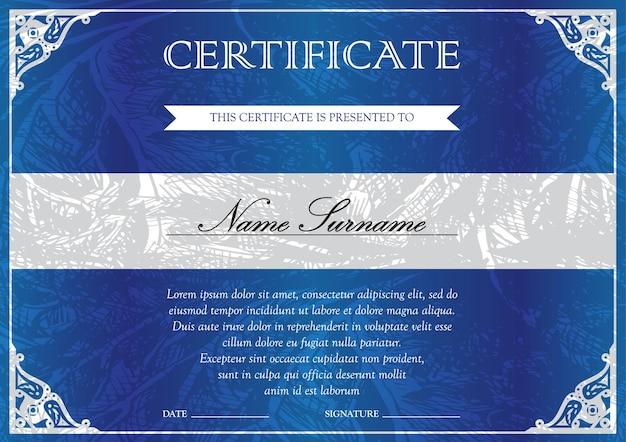 達成のための勝者のためのヴィンテージ、花柄、細線細工、かわいいパターンの水平の青い証明書と卒業証書のテンプレート