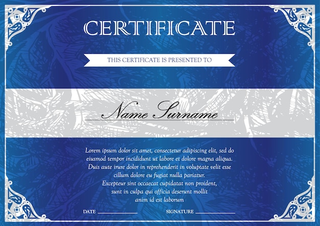 Horizontal blue certificate and diploma template with vintage, floral, filigree and cute pattern for winner for achievement