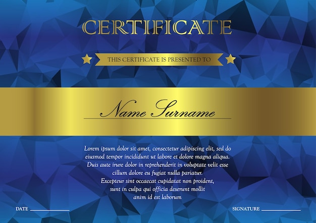 Horizontal blue and gold certificate and diploma template with vintage, floral, filigree and cute pattern for winner for achievement. blank of award coupon. vector Premium Vector