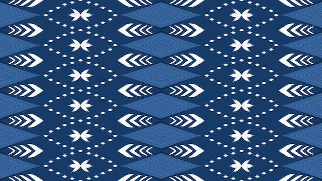 Horizontal blue tone asian ethnic geometric oriental ikat seamless traditional pattern. design for background, carpet, wallpaper backdrop, clothing, wrapping, batik, fabric. embroidery style. vector