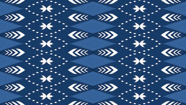 Горизонтальные синие тона азиатские этнические геометрические восточные икат бесшовные традиционные модели. дизайн для фона, ковер, фон обоев, одежда, упаковка, батик, ткань. стиль вышивки. вектор