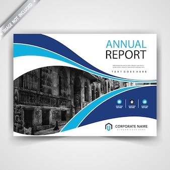 Horizontal blue wavy business brochure