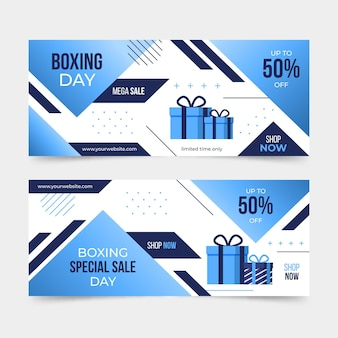 Horizontal  boxing day event banners collection