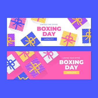 Horizontal  boxing day event banners set