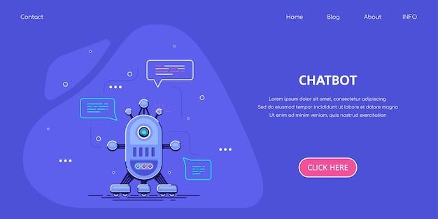 Горизонтальный шаблон бизнес-баннера с роботом