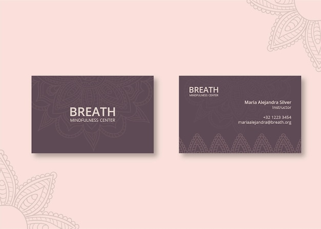 Horizontal business card for meditation and mindfulness