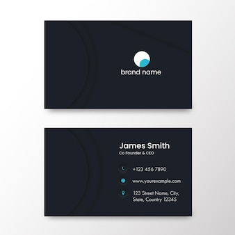 Horizontal business card template design in front and back view.