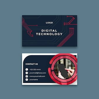Horizontal business card template for digital technology