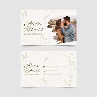 Horizontal business card template in floral style