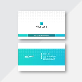 Horizontal business card template layout with polka dots in cyan and white color.