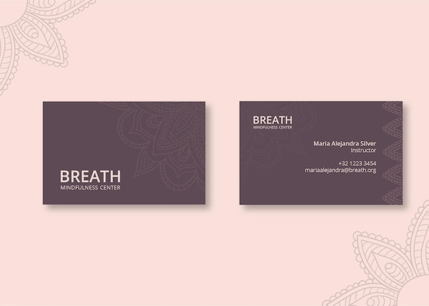 Horizontal business card template for meditation and mindfulness