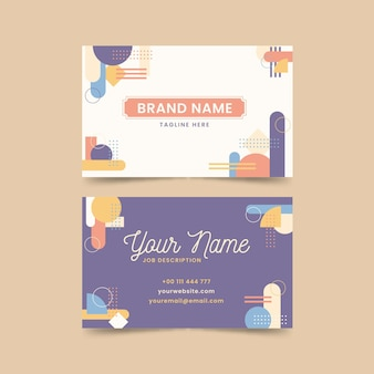Horizontal business card template in memphis style