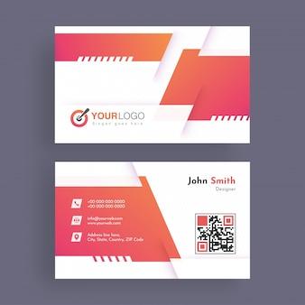 Горизонтальная визитная карточка с передней и задней презентацией